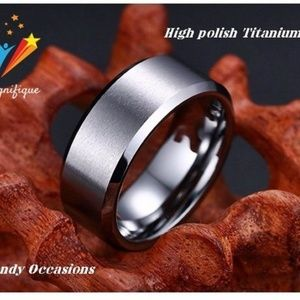 Jewelry - Brushed Center Titanium Beveled Fit 8mm Ring